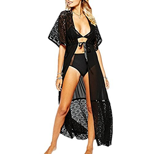 5721fae52c Women Long Lace Beach Sunscreen Bikini Cover up Kimono Cardigan Maxi  Swimsuit Beachwear Black. Information   material chiffon+lacecolor white blackstyle maxi ...
