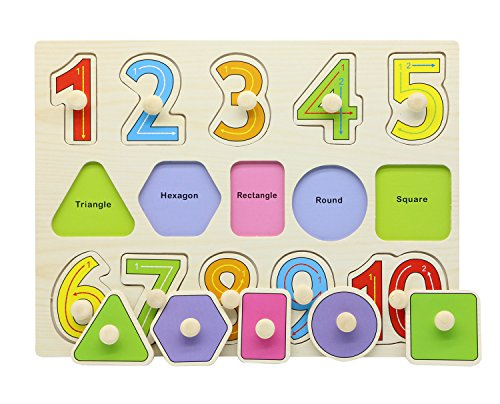 Motrent Wooden Jigsaw Peg Puzzle Board Toy Number Educational And