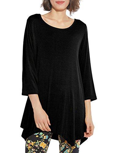a0899934c BELAROI Women 3/4 Sleeve Swing Tunic Tops Plus Size T Shirt S, Black ...