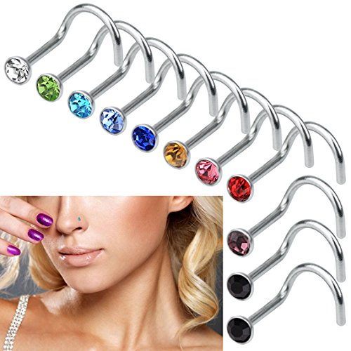 7x Surgical Steel Small Thin Love Star Screw Nose Stud Ring Piercing Jewelr L/_X